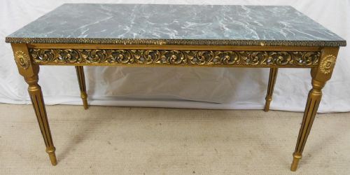 Gilt Frame Marble Effect Top Long Coffee Table